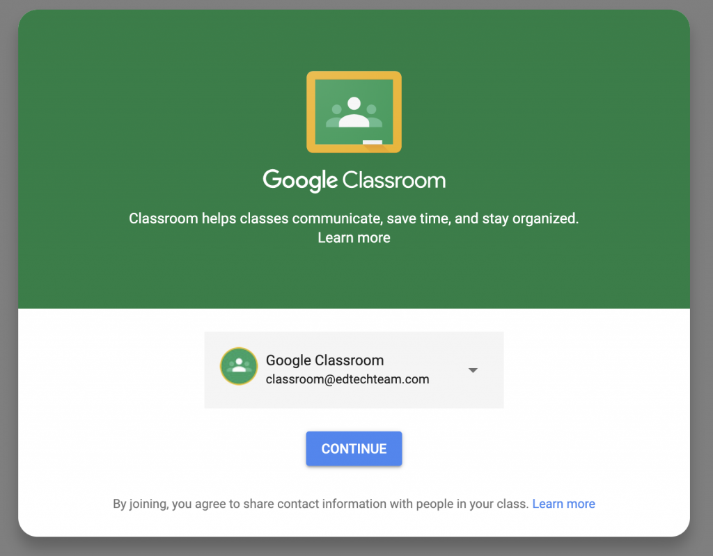 Google Classroom login page