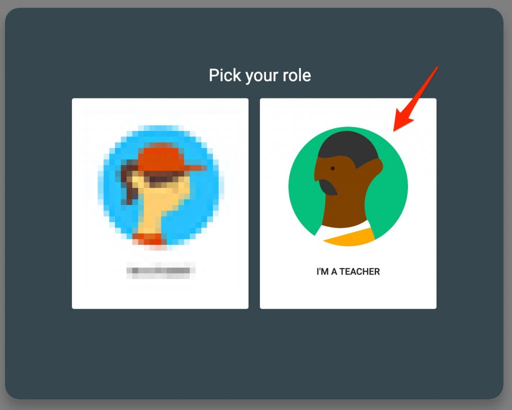 Google Classroom role selection